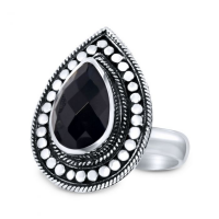 CLOSE TO ZEN | Ring - Rebel flower black onyx 1