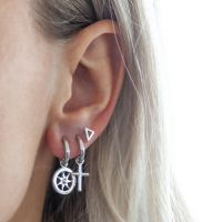 JWLS4U | Earrings Cross Silver 2