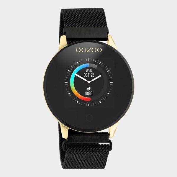 OOZOO | Smartwatch unisex goud/zwart mesh