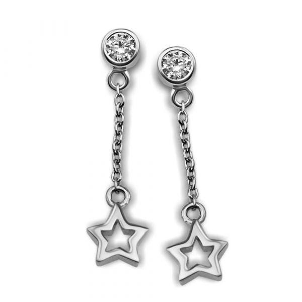 JWLS4U | Oorhangers Open Star Silver