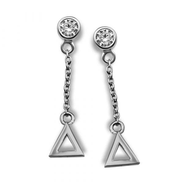 JWLS4U | Oorhangers Triangle Silver