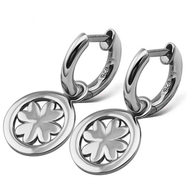 JWLS4U | Earrings Lucky Leaf Silver