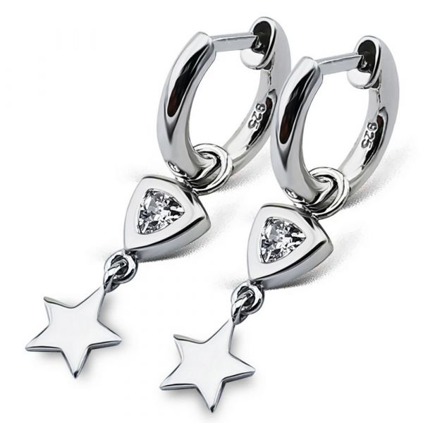 JWLS4U | Earrings Trillion Star Silver