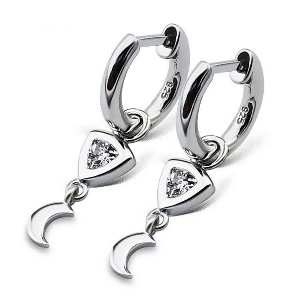 JWLS4U | Earrings Trillion Moon Silver