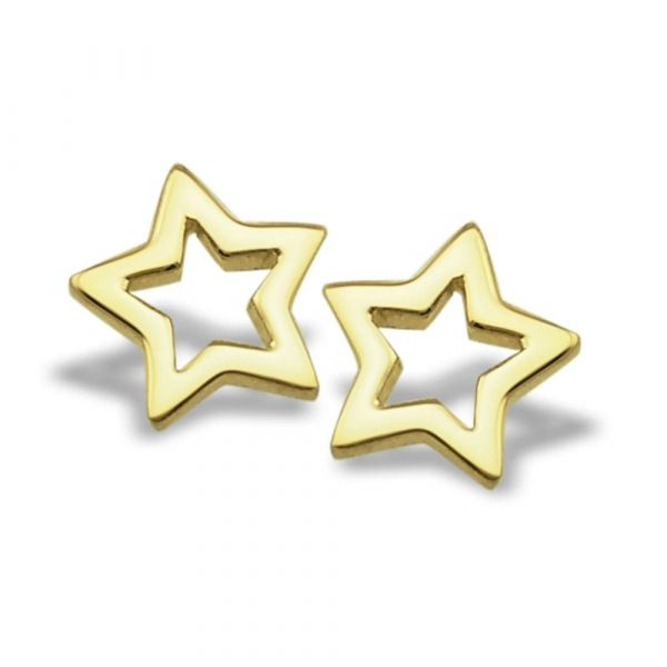 JWLS4U | Earrings Star Open Gold