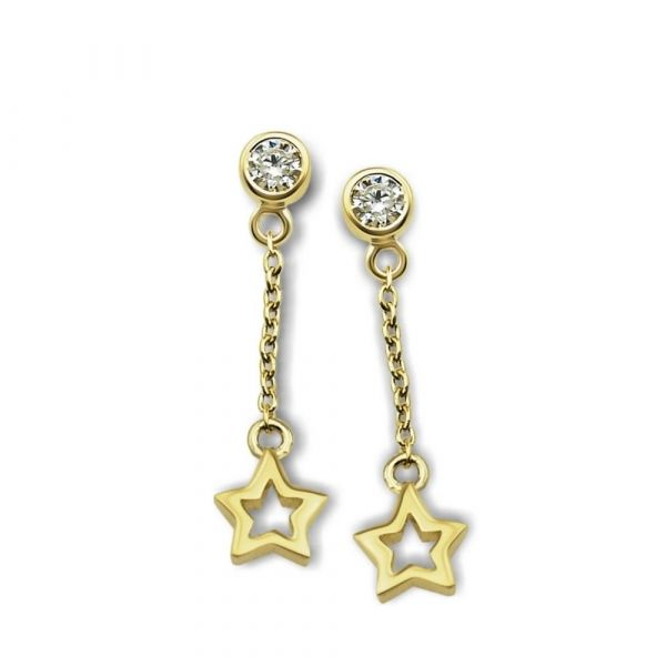 JWLS4U | Oorhangers Open Star Gold