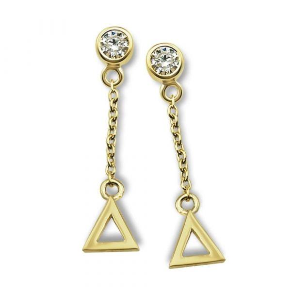 JWLS4U | Oorhangers Triangle Gold