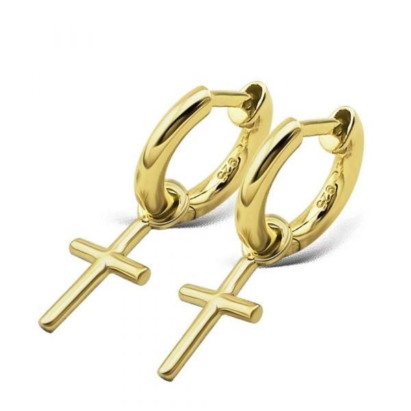 JWLS4U | Earrings Cross Gold