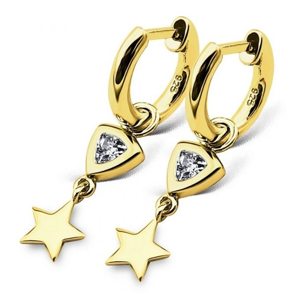 JWLS4U | Earrings Trillion Star Gold