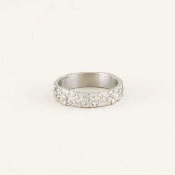 MY JEWELLERY | Brede ring bloemetjes zilver