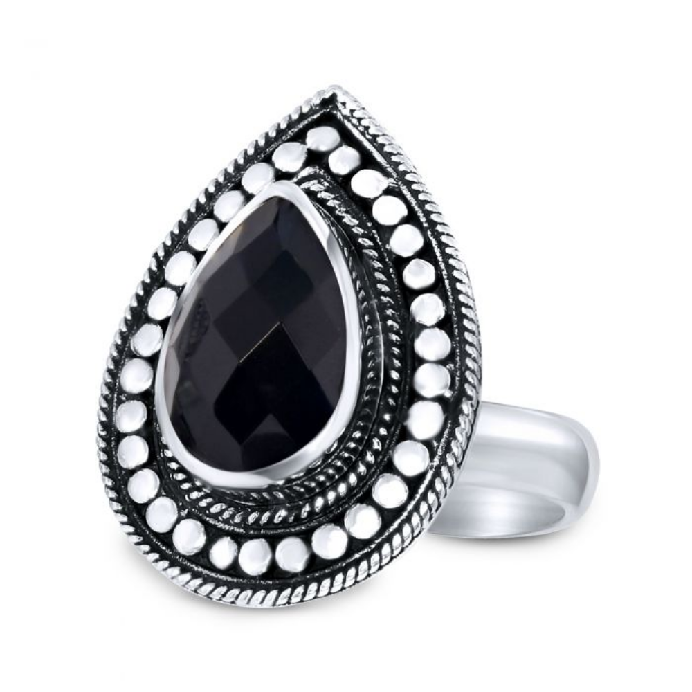 CLOSE TO ZEN | Ring - Rebel flower black onyx