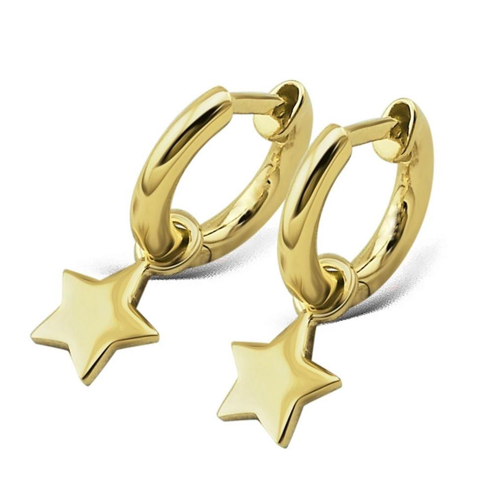 JWLS4U | Earrings Star Gold