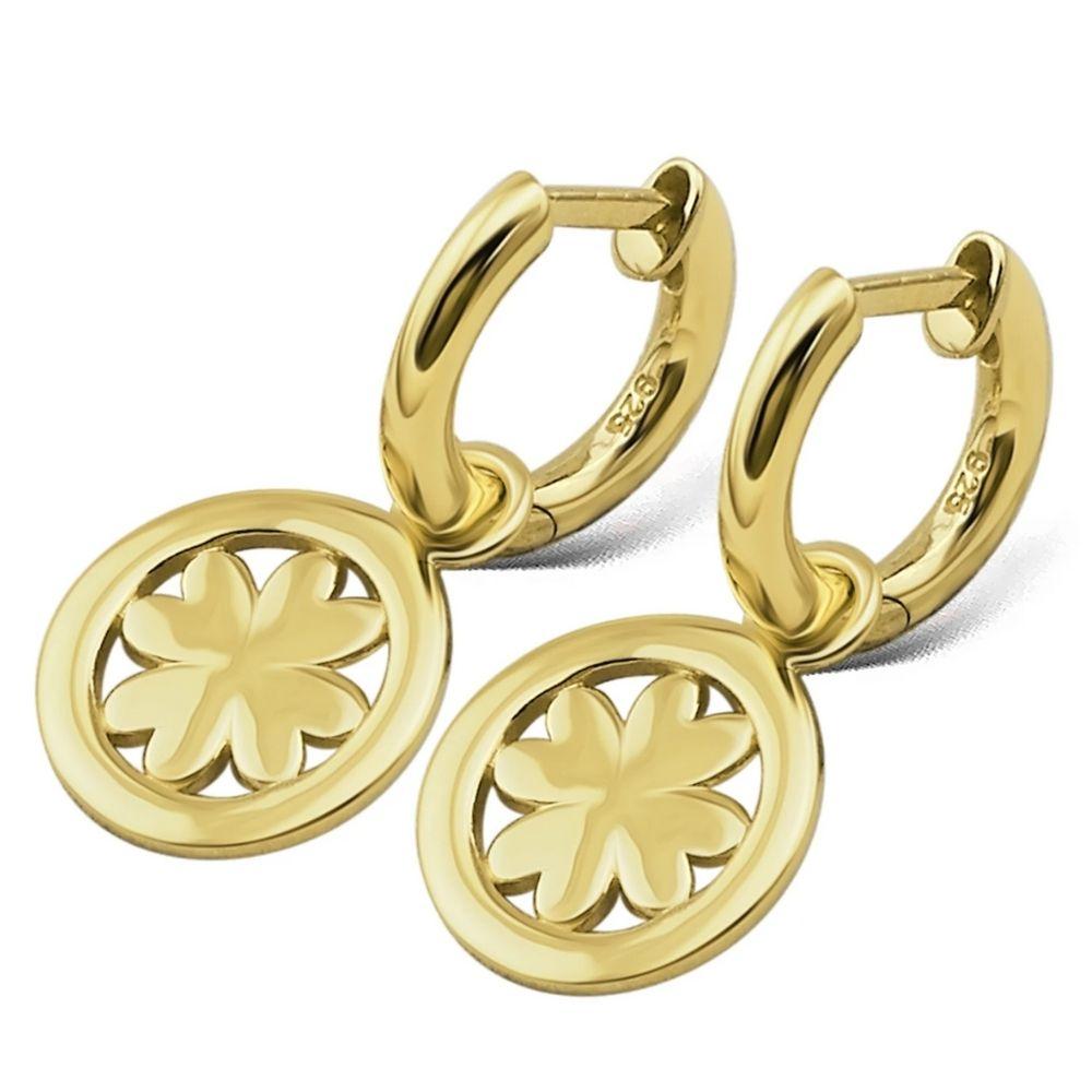 JWLS4U | Earrings Lucky Leaf Gold