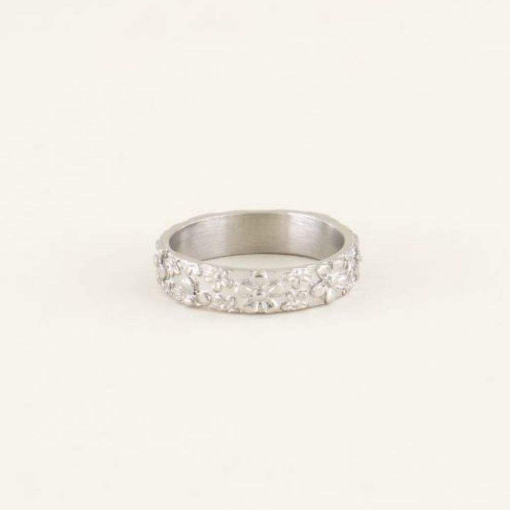 MY JEWELLERY   Brede ring bloemetjes zilver